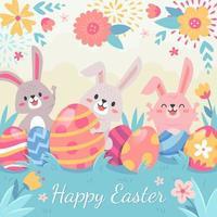 Feiern Sie Ostern mit fröhlichen Osterhasen vektor