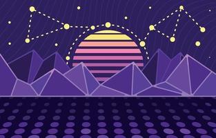 retro solnedgånglandskap över den futuristiska bergsbakgrunden vektor