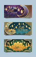 mallar för presentkuponger för eid mubarak vektor