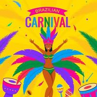 kvinnasambadansare på rio karnevalbakgrund vektor