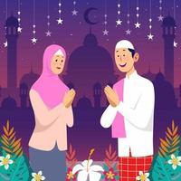 glada muslimer gratulerar varandra vektor