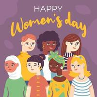 Vielfalt der Frauen, um den Frauentag zu feiern vektor