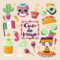 Cinco de Mayo Ikonuppsättning vektor