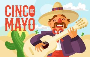 Mariachi spielt Gitarre auf Cinco de Mayo vektor