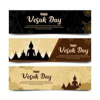 Happy Vesak Day Banner mit flachem Design vektor