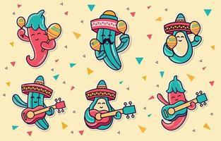 cinco de mayo doodles karaktär samling vektor