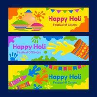 uppsättning holi festival banners