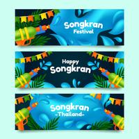 realistiska Songkran festival banners vektor