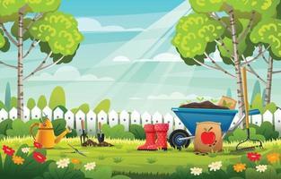 Gartenlandschaft mit Gartenwerkzeugen Hintergrundkonzept vektor