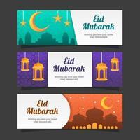 eid mubarak säsong hälsningar banner samling vektor