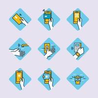 unaktive bargeldlose Technologie-Ikonensammlung vektor
