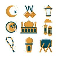 eid mubarak icon set vektor