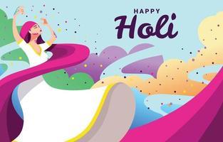Frau tanzt und feiert Holi Festival vektor