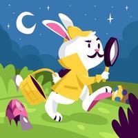 Ein Hase trägt ein Detektivtuch, das Osterei jagt vektor
