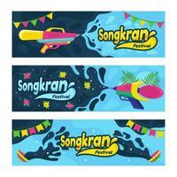 uppsättning av songkran festival banner vektor
