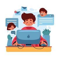 neues normales Online-Meeting zu Hause vektor
