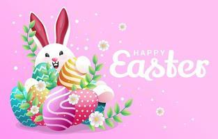 glad påskdag med söt kanin