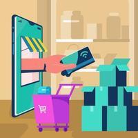 Hand geben Kreditkarte virtuell durch Artikelkonzept vektor