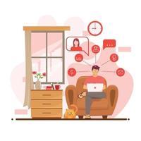 arbetar hemifrån för nytt normalt protokoll vektor