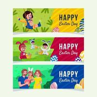 glückliche Leute feiern Ostertagsfahnensatz vektor