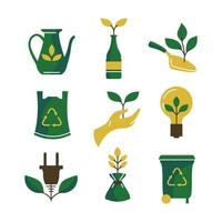 umweltfreundliches und umweltfreundliches Icon-Set vektor