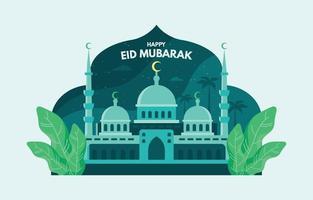 Eid Mubarak Design mit schöner Moschee vektor
