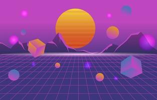 retro futuristischer Hintergrund vektor