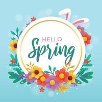 Hallo Frühlingsgrußschablone mit Blumenhintergrund vektor