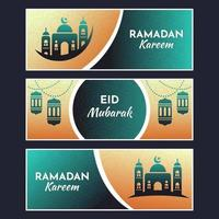 eid mubarak banner med islamisk ikon