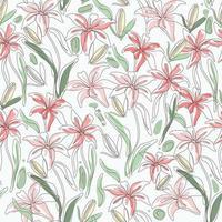 One Line Art Blumen Design nahtlos vektor