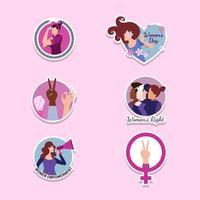 klistermärke design som representerar kvinnors historia månad vektor