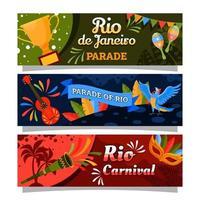 Rio Festival Brasilien Karneval Banner Set vektor