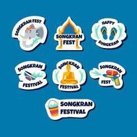 Songkran festival klistermärke vektor
