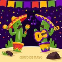 glad kaktus firar cinco de mayo vektor