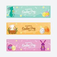 Happy Easter Day Banner Set vektor