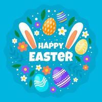 platt glad påsk festlighet vektor