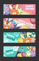 Happy Easter Banner Template Set vektor