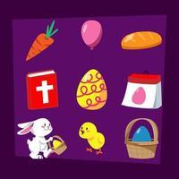 påsk tecknad ikonuppsättning