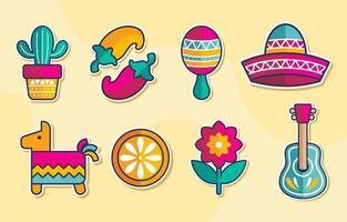 cinco de mayo färgglada ikonuppsättning vektor