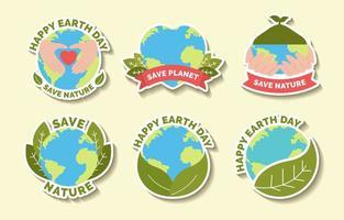 Happy Earth Day Aufkleber Set vektor