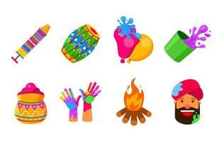 Holi Festival Feier Icon Set vektor