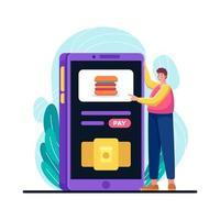 Online-Bestellung von Lebensmitteln unaktives Konzept vektor