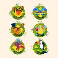 Brasilien karneval uppsättning ikoner vektor