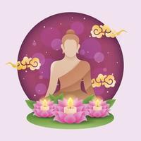 vesak bakgrund med buddha staty och lotus vektor