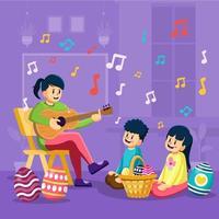 Die Lehrerin spielt Gitarre und singt für ihre Schüler im Osterfestkonzept vektor