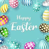 Fröhliches Ostern mit verschiedenen Eiern Muster vektor