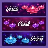 funkelnde Lotusblumen am Vesak-Tag vektor