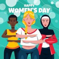 Gruppe von Frauen, die Gleichstellungsarmgeste machen vektor