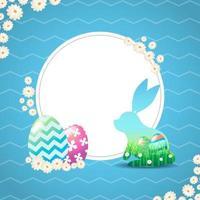 Hase mit Graspanorama und gemaltem Ei im Hintergrund vektor