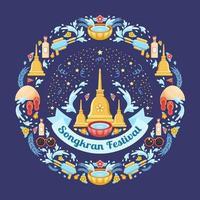färgglada songkran festival konceptkomposition